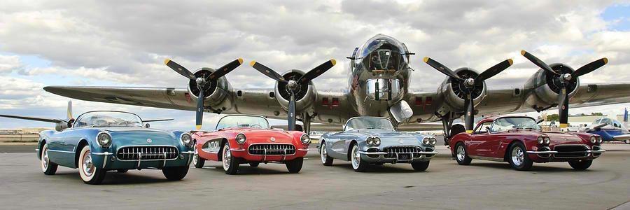Four C1 Vette's & B-17 Bomber