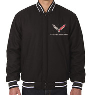 C7 Corvette Wool Varsity Jacket - Black/White Trim Option
