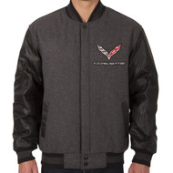C7 Corvette Wool Varsity Jacket - Charcoal/Black Sleeve Option