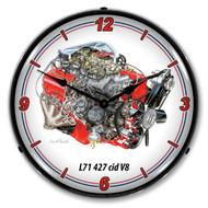 427 L71 V8 Engine Backlit Clock