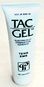 Used with the carbon rubber electrodes. This gel not only conducts - it is also sticky.