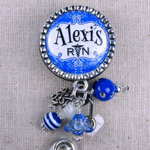 Bright Blue Damask Nurse Badge - Personalized RN Graduation Gift