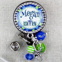 BSN RN Name Badge Reel - Blue Green Polka Dot Nurse ID Tag
