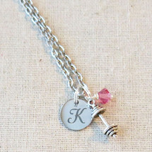 DUMBBELL Initial Necklace - CUSTOM Fitness Jewelry