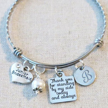 PERSONALIZED Junior Bridesmaid Bangle Bracelet