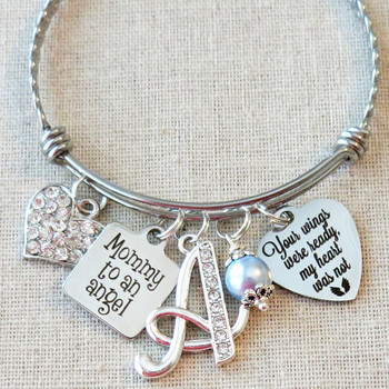 Memorial Jewelry - Mommy To An Angel Bangle Bracelet
