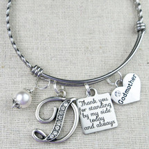 GODMOTHER Thank You Gift - Personalized Initial Pearl Godmother Bangle