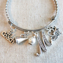 CHEERLEADING Coach Gift - Number 1 Cheer Coach Charm Bangle