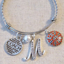 Basketball Coach Gift - Basketball Coach Charm Bangle Bracelet
