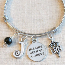 LPN Graduation Gift - Imagine Believe Achieve Charm Bracelet