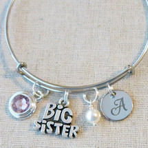 Big SISTER Bangle Bracelet - Personalized Big Sister Gift