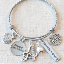 TEACHER PRINCIPAL RETIREMENT Gift Bangle Bracelet - Adventure Awaits 2018 Retirement Bracelet