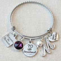 70th Birthday Gift - Remember the Moments Happy Birthday Bangle