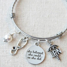 She Believed She Could So She Did Bracelet - LPN Graduation Gift
