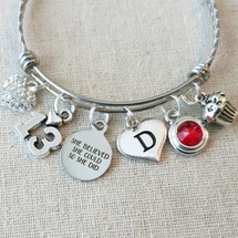 13th BIRTHDAY Gift - She Believed She Could So She Did Birthstone Bracelet