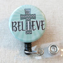 BELIEVE Mylar Badge Reel - Believe Religious Cross Retractable Badge Holder