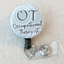 Occupational Therapist Mylar Badge Reel, OT Retractable Name Badge Holder