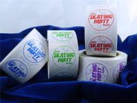 """These """"Roller Skating Party Tonight"""" stickers are an incredibly popular item for use during parties.  Available in red, green, blue or purple. Each roll consists of 500 stickers.  Mix and match rolls!"""