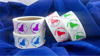 """These """"Fun You Can Feel"""" stickers are an incredibly popular item for promotional use.  Available in red, green, blue or purple. Each roll consists of 500 stickers.  Mix and match rolls!"""