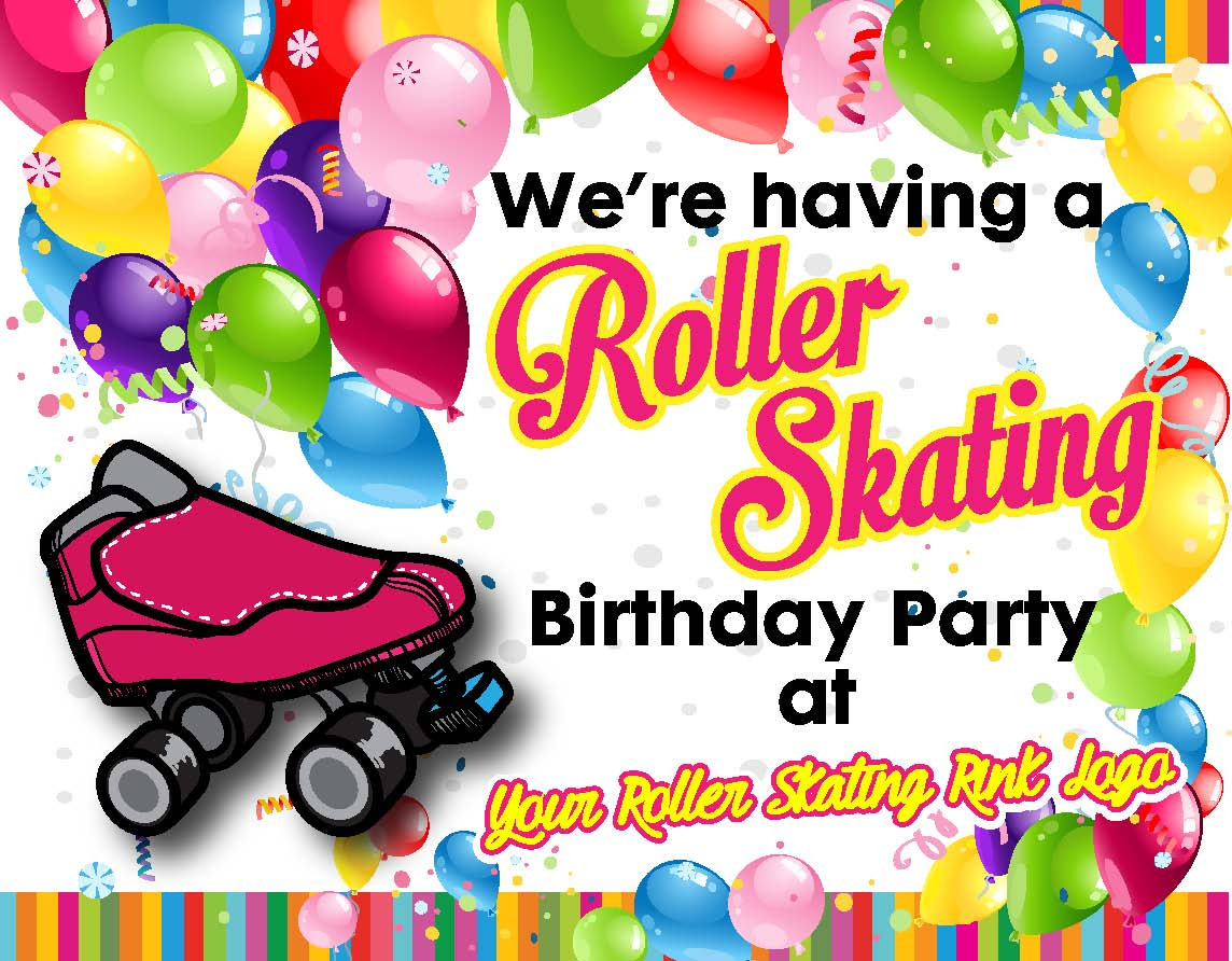 Birthday Party Invitations RAINBOW Roller Skating Association – Roller Skating Birthday Party Invitations