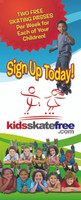 "Promote KSF signup info with this colorful roll up banner.  Use it throughout your rink, at local events, or during school field trips and parties. Each roll up banner stands 83"" tall x 33.5"" wide and is attached to a sturdy, silver metal base and pulls out. Comes with a black carrying case for secure transporting and storage"