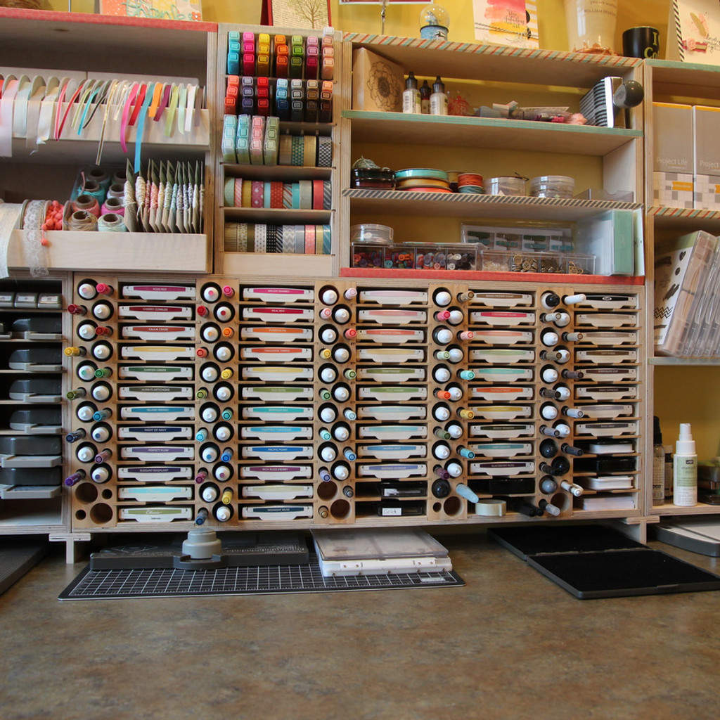 Desk with Kickstands lifting up Stamp-n-Storage units