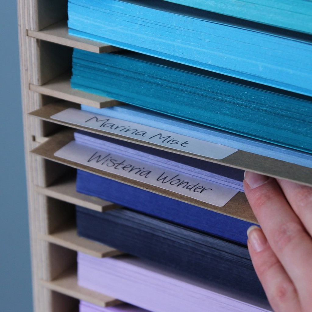 The Paper Holder Label System comes with labels which make it easier for you to know exactly which colors you own.
