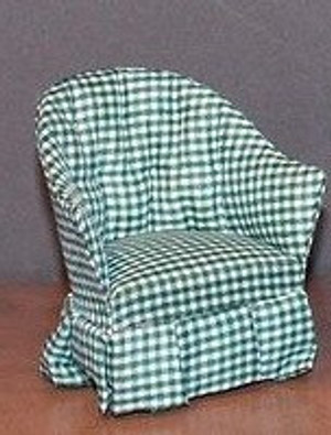 40907-C - Chair - Green & White Check Fabric