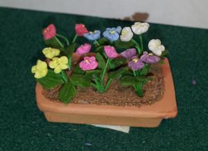 2253 - Planter Box - Terra Cotta - Low - Pansies