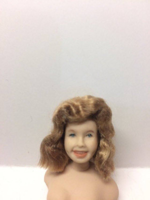 Dollhouse Miniature - Porcelain Doll Wig - Sandra Dishwater Blonde Wig - 1:12 Scale