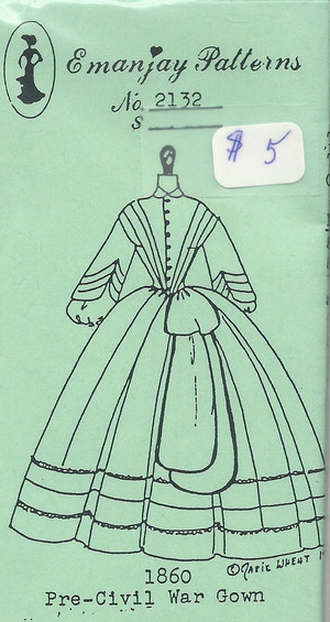21c2 -1860 Pre-civil War Gown- Emanjay Sewing Pattern