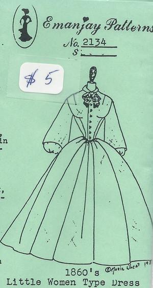 2134-1860's Little Women Type Dress- Emanjay Sewing Pattern