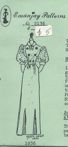 2136 - 1936 Dress - Emanjay Sewing Pattern