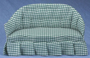 40907-S - Sofa - Green & White Check Fabric