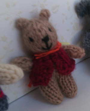 11005 - Teddy Bear - Small - Tan - Red Vest Standing - OOAK