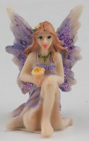 Fairy Garden - DDL1234 - Small Fairy with Knee Up - Purple Dress