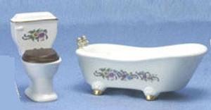 Dollhouse Miniature - CLA01229-1 - Bathroom Set - 2 Pc - Toilet & Tub