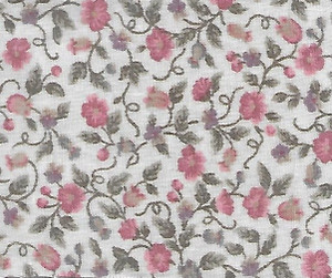 """2941 - Fabric:  Cream/Pink Floral - 7"""" x 11"""""""