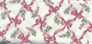 """2927 - Fabric:  Cream with Pink Bows - 9"""" x 12"""""""