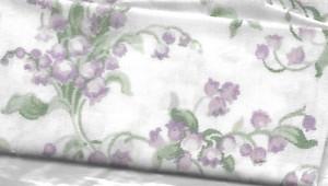 "2923 - Fabric:  White Purple & Green Flower - 7"" x 11"""