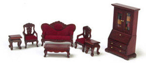 "1/2"" Scale - T0233 - Living Room Set - Mahogany - 7 pc"