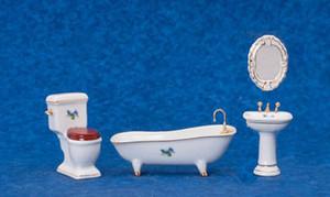 Dollhouse Miniature - T5245 - Porcelain Bathroom Set - With Flowers - 4 Piece Set