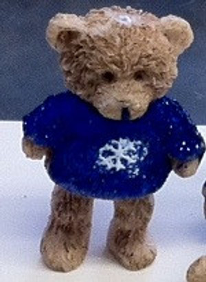 Dollhouse Miniature - 5048 - Bear - Dark Blue Sparkle Top - Standing