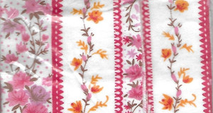 """2933 - Fabric:  Flannel - Pink Stripe Floral - 11"""" x 8.5"""""""