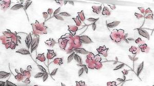 """2925 - Fabric:  White Peach & Tan Flower - 7.5"""" x 12"""""""