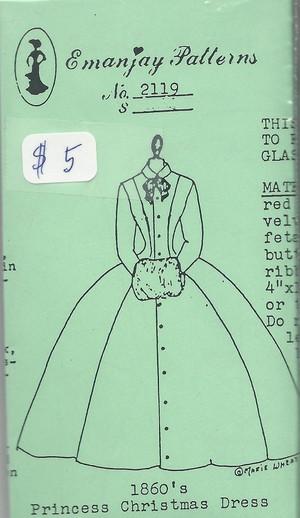 2119 -1860's Princess Christmas Dress-Emanjay Sewing Pattern