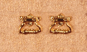 Dollhouse Miniature - KNOCKER AND PULL - GOLD PLATED - Pkg/2 - S3078B