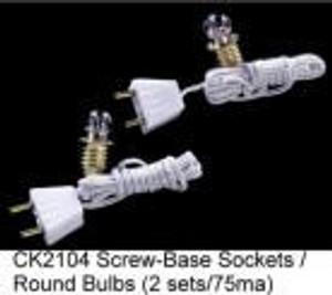 CK2104 - Round Bulb w/Socket & Cord-2 pk