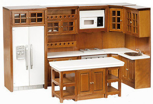 Dollhouse Miniature T6725 - Kitchen Cabinet & Appliance Set -Walnut