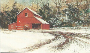 Dollhouse Miniature - 292 - Painting - Snow Scene with Red Barn